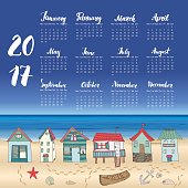 Calendar 2017 Year One Sheet, Vector Hand Drawn Beach Huts and Month Lettering, Week Starts Monday