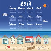 Calendar 2017 Year One Sheet, Vector Hand Drawn Beach Huts and Month Lettering, Week Starts Sunday