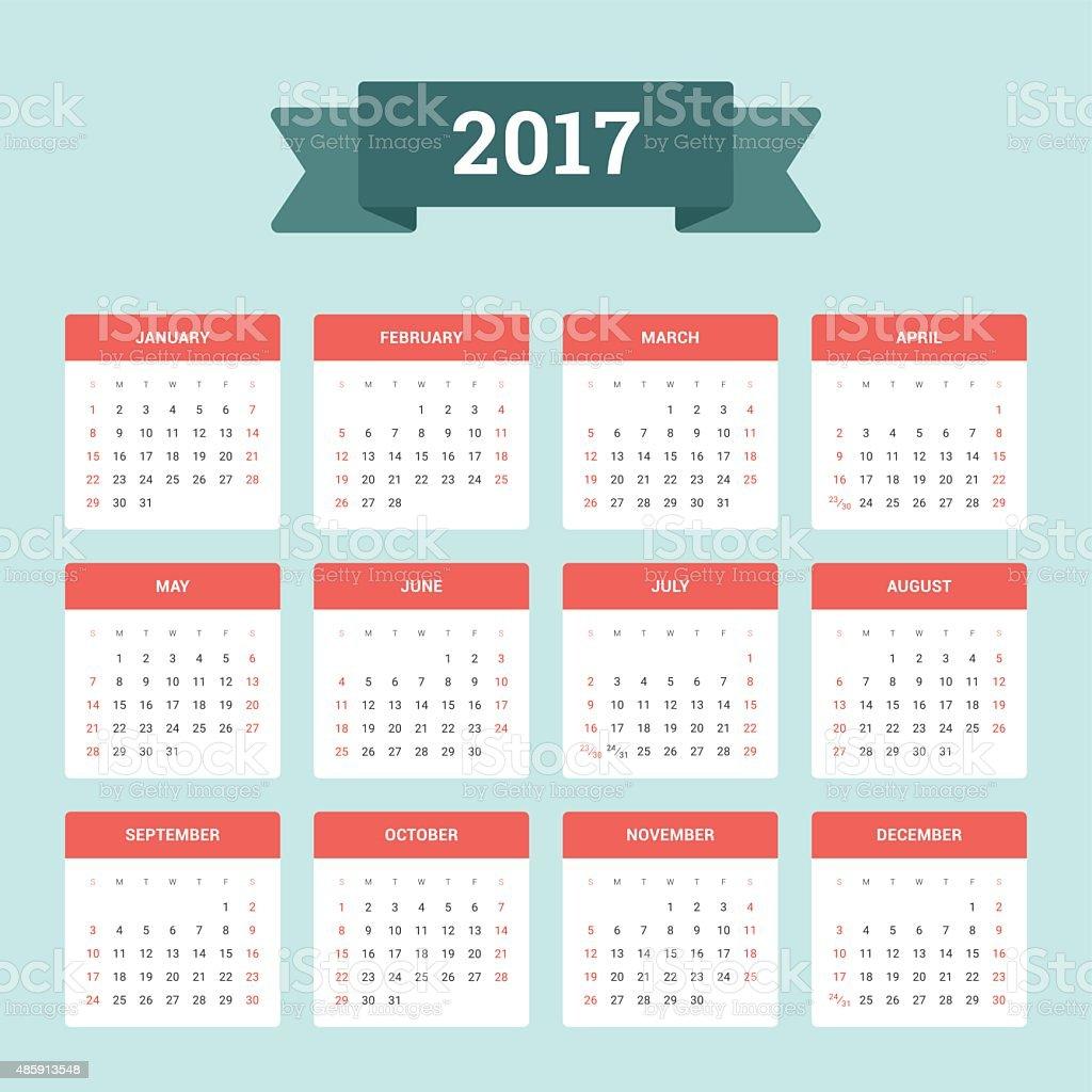 Vetores De Calendario 2017 E Mais Imagens De 2015 Istock