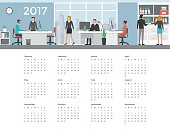 Business people working in the office, 2017 wall calendar