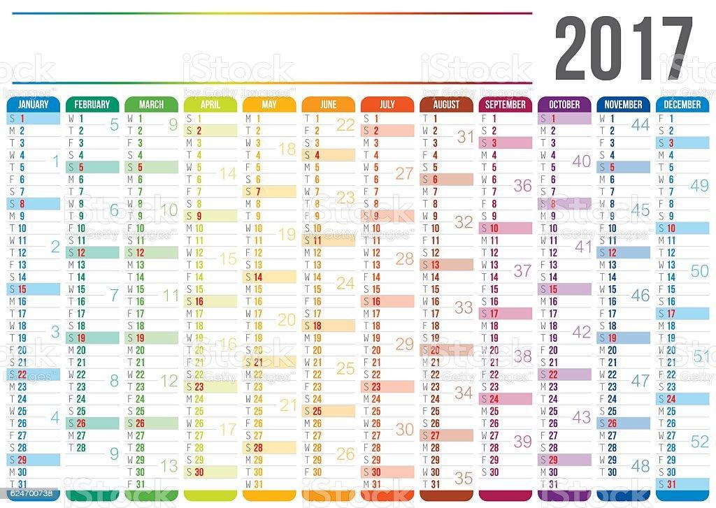 Calendário 2017 - ilustração de arte em vetor