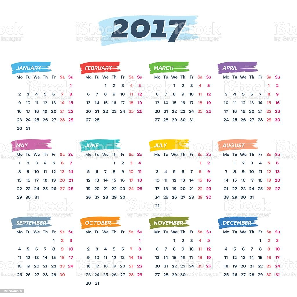 calendar 2017 weeks start from monday royalty free calendar 2017 weeks start from monday stock