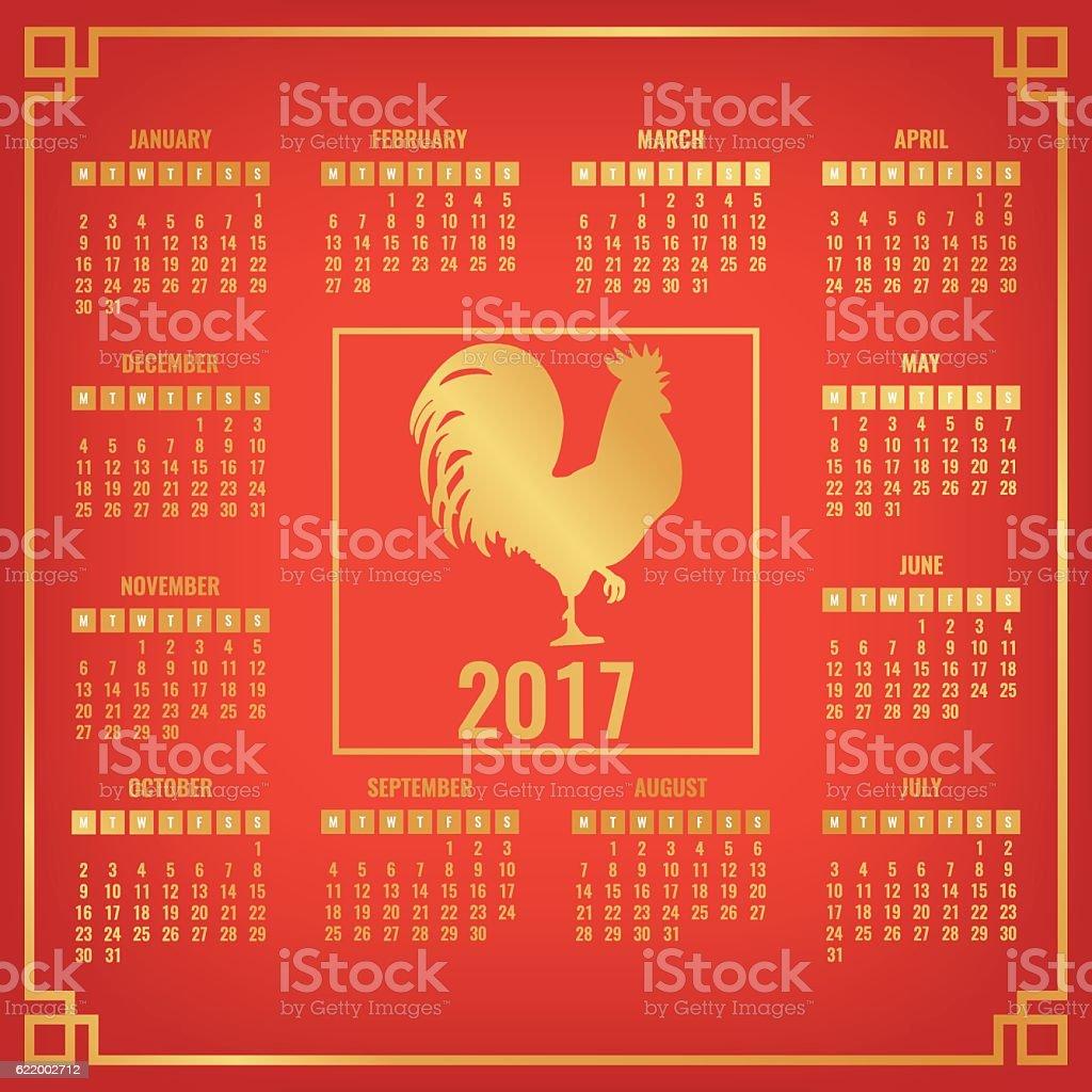 Calendar Organization Zodiac : Calendar with chinese zodiac rooster golden