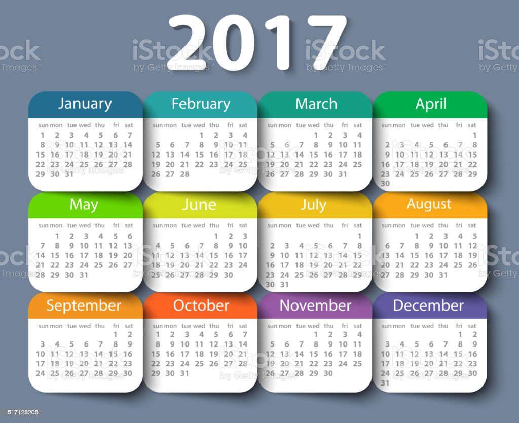 Calendar 2017 year vector design template vector art illustration