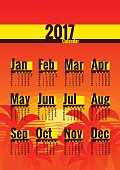 Calendar vector template for 2017 year. Week starts on Monday. Calender with week numbers. Year on one page, suitable for poster or pocket calendar. Palm trees and tropical sunset