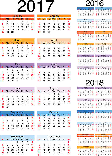 Calendar 2017-2016-2018 vector art illustration