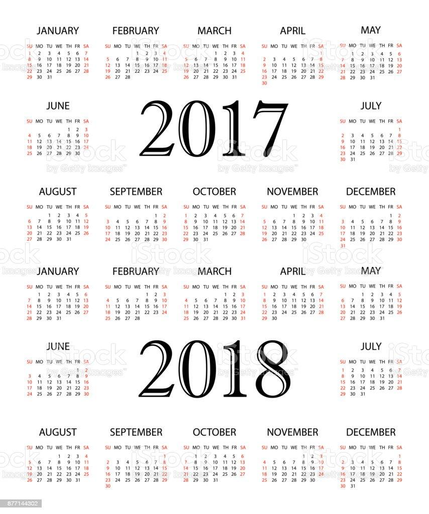 カレンダー 2017年2018 年20172018 年のシンプルなカレンダー