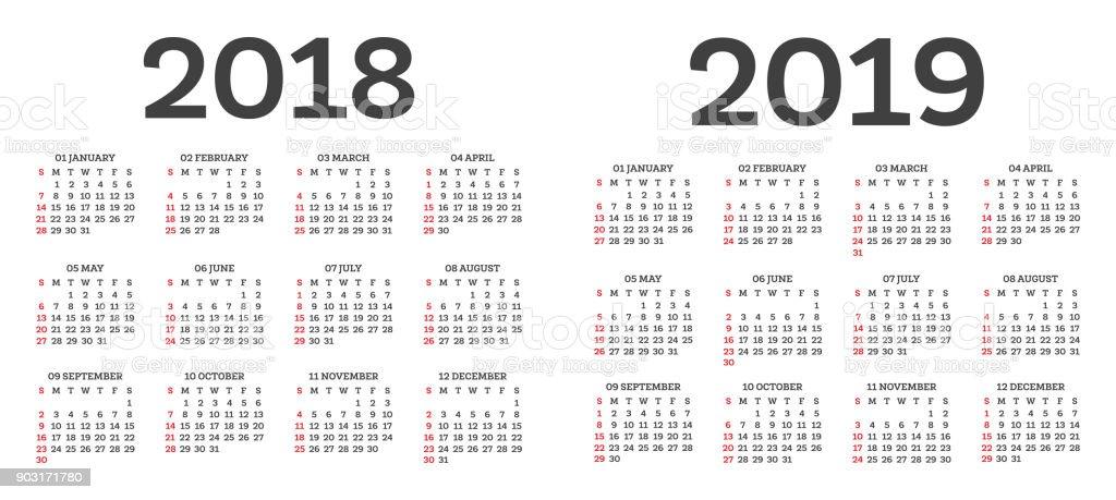 Calendario 2018 2019.Calendar 2018 2019 Isolated On White Background Week Starts