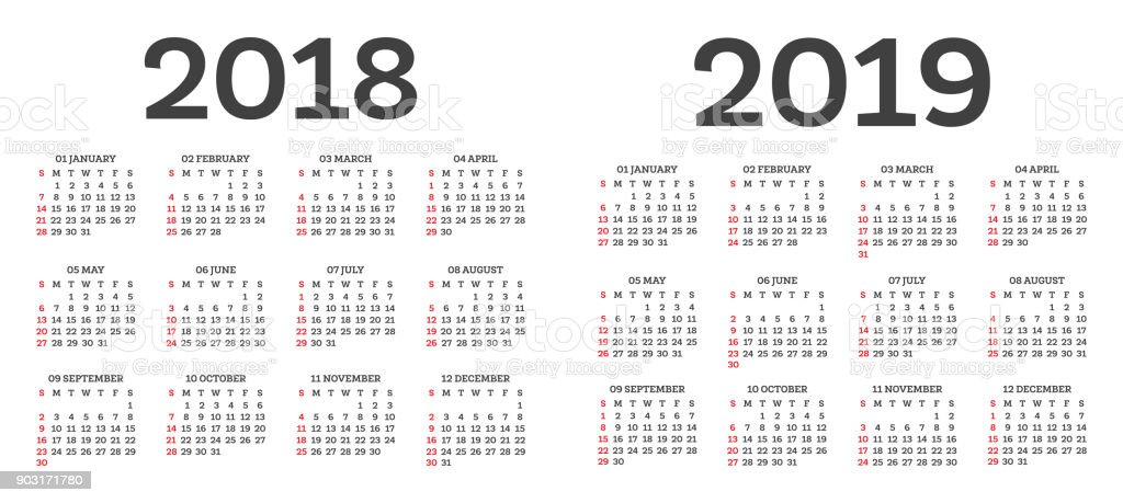 Calendar 2018 2019 Isolated on White Background. Week starts from Sunday. vector art illustration
