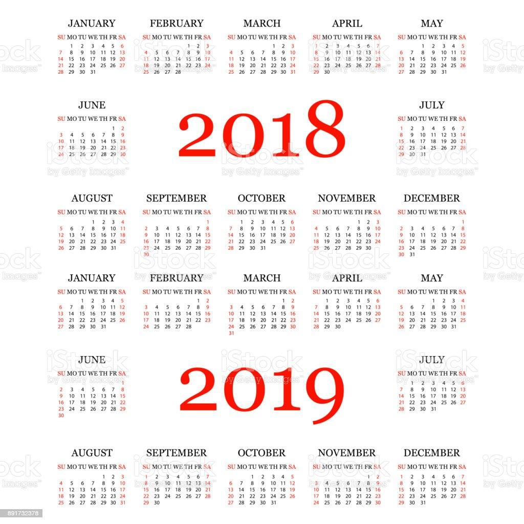Kalender 2018, 2019. Einfache Kalendervorlage für das Jahr 2018 und 2019. Weißen Hintergrund. Vektor-illustration – Vektorgrafik