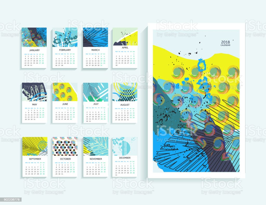 Calendar Abstract Art : Calendar abstract modern art monthly
