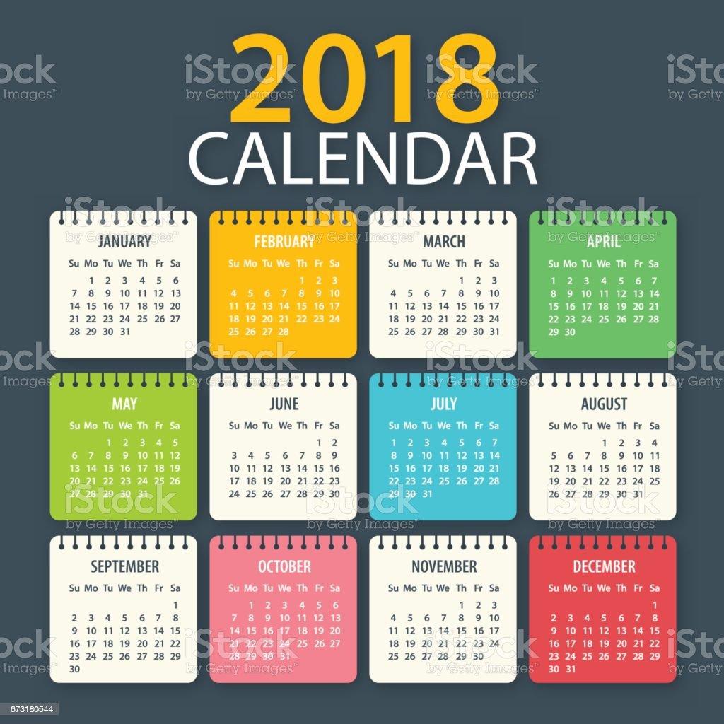 Calendar 2018 - American vector art illustration