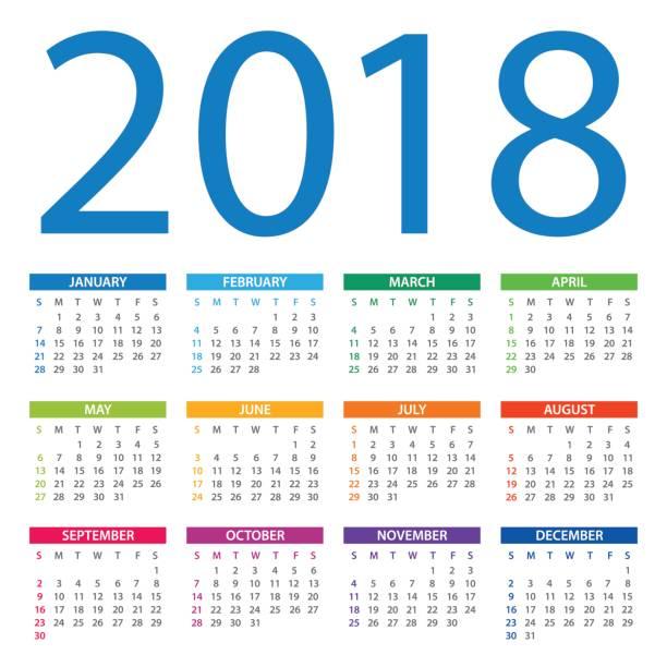 kalender 2018 - amerikanische version - monatskalender stock-grafiken, -clipart, -cartoons und -symbole