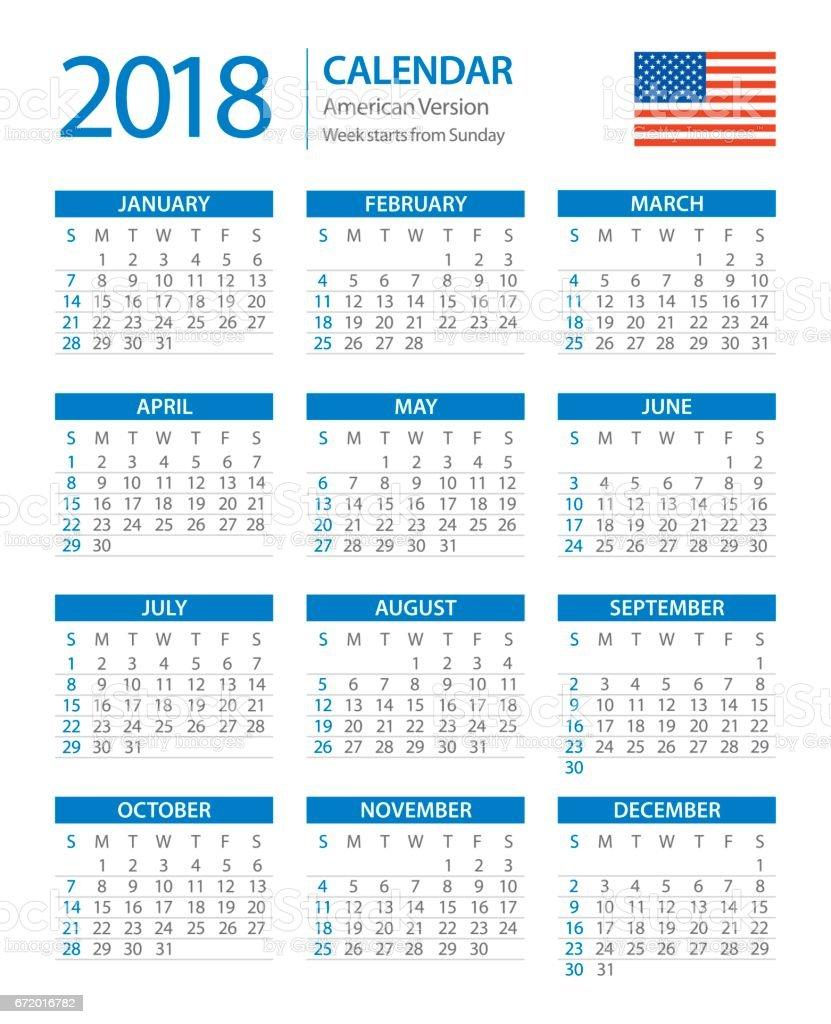 Calendar 2018 American Vertical Blue Version Stock Vector ...
