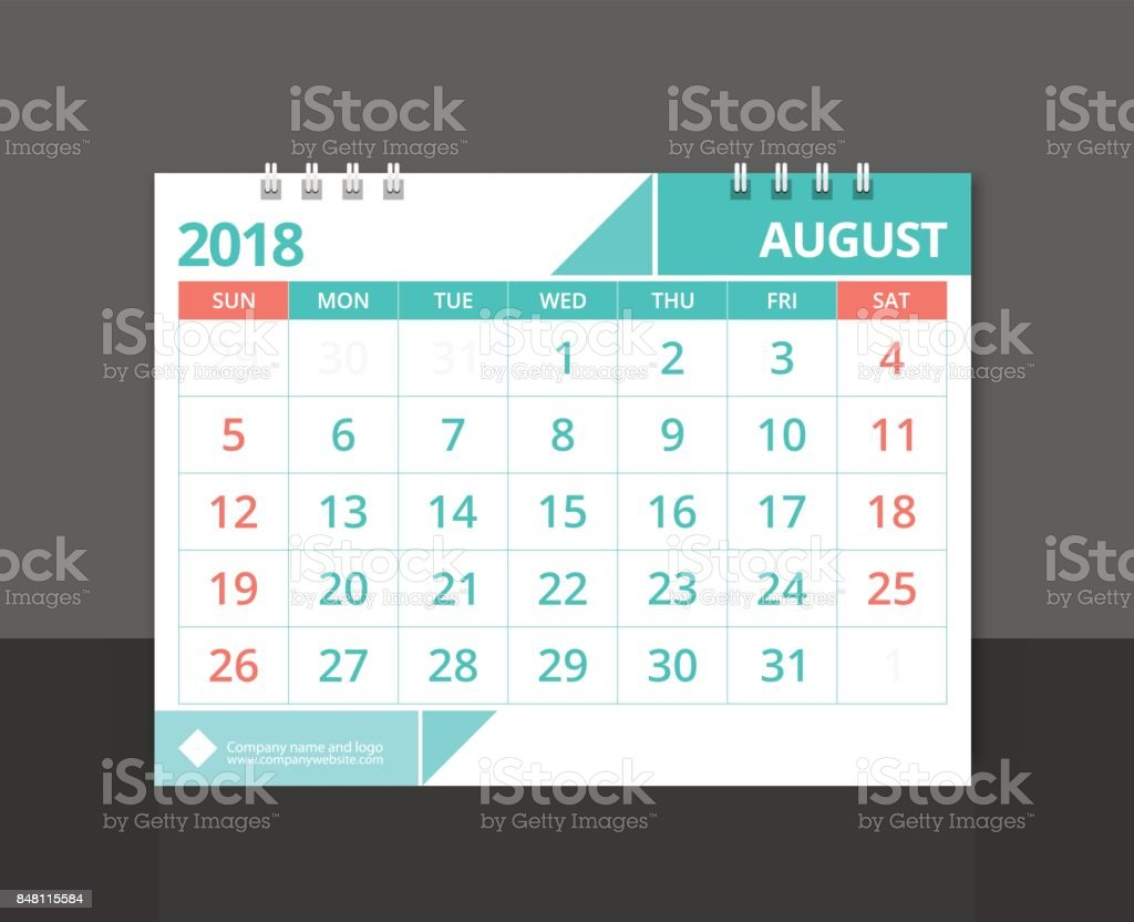 Corporate Calendar 2018 : Calendar august week start on sunday desk