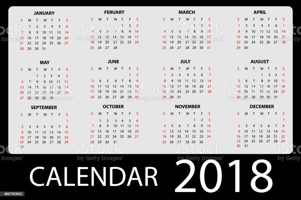 calendar 2018 black gray vector vector art illustration