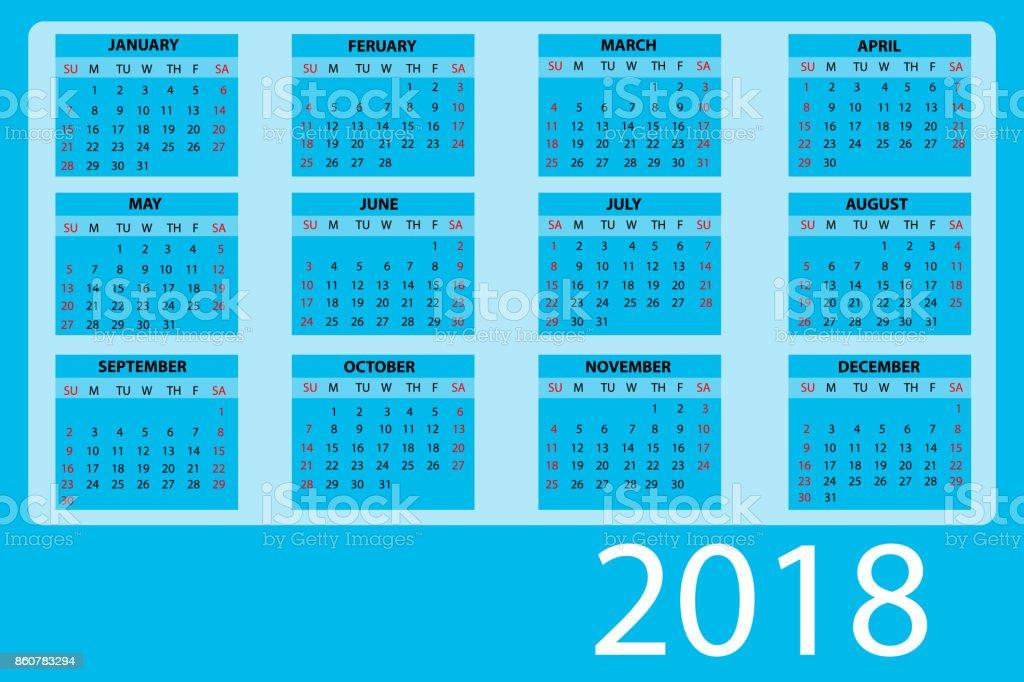 calendar 2018 blue vector vector art illustration