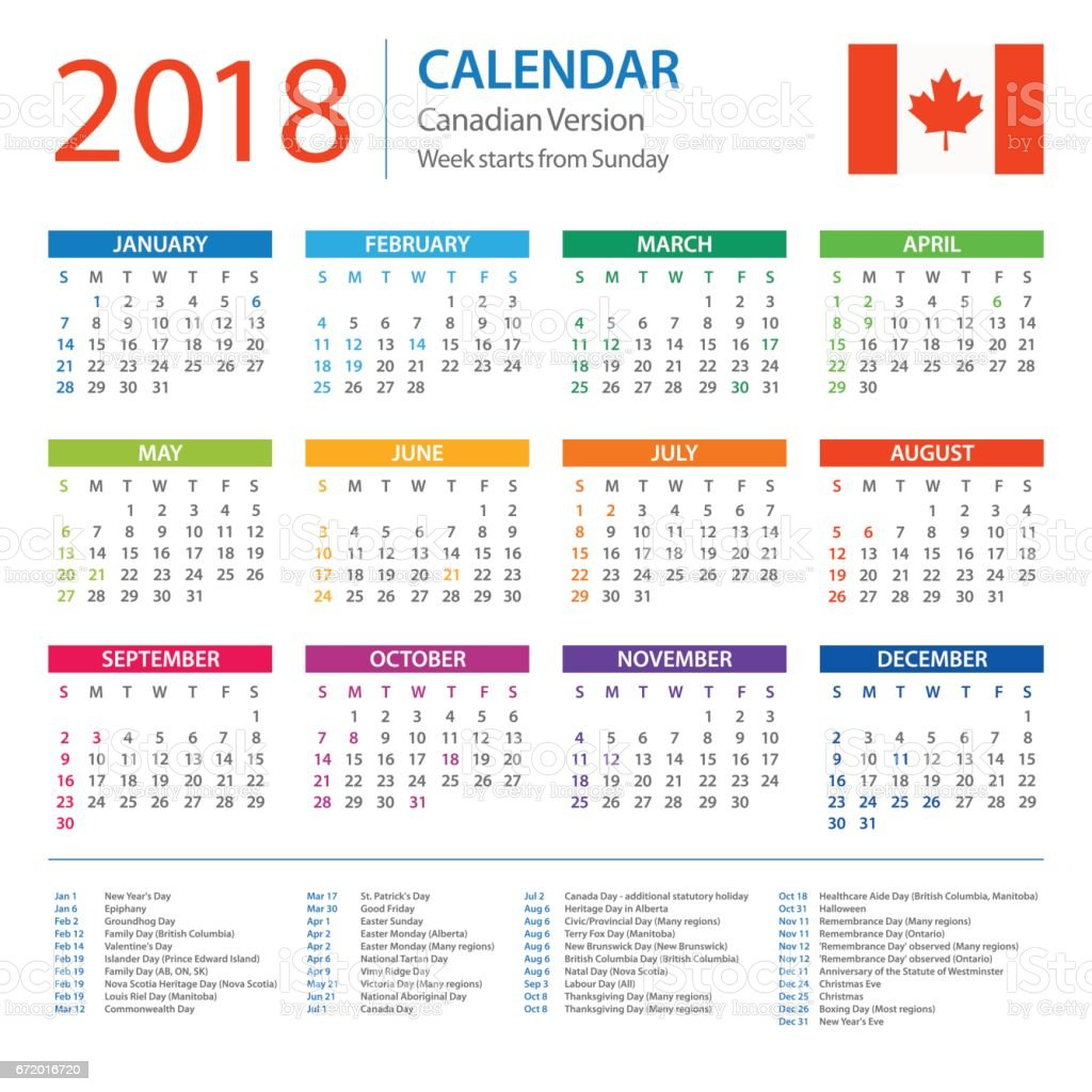 Calendar 2018 Canadian Version With Holidays Stock Vector Art More
