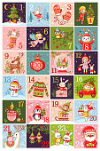 Vector christmas advent calendar in children's style. Collection of vector illustrations with animals. Christmas pictures with Santa Claus. Calendar 2018.
