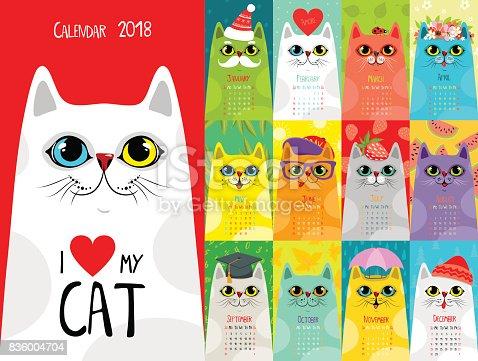 Calendar 2018. Cute cats
