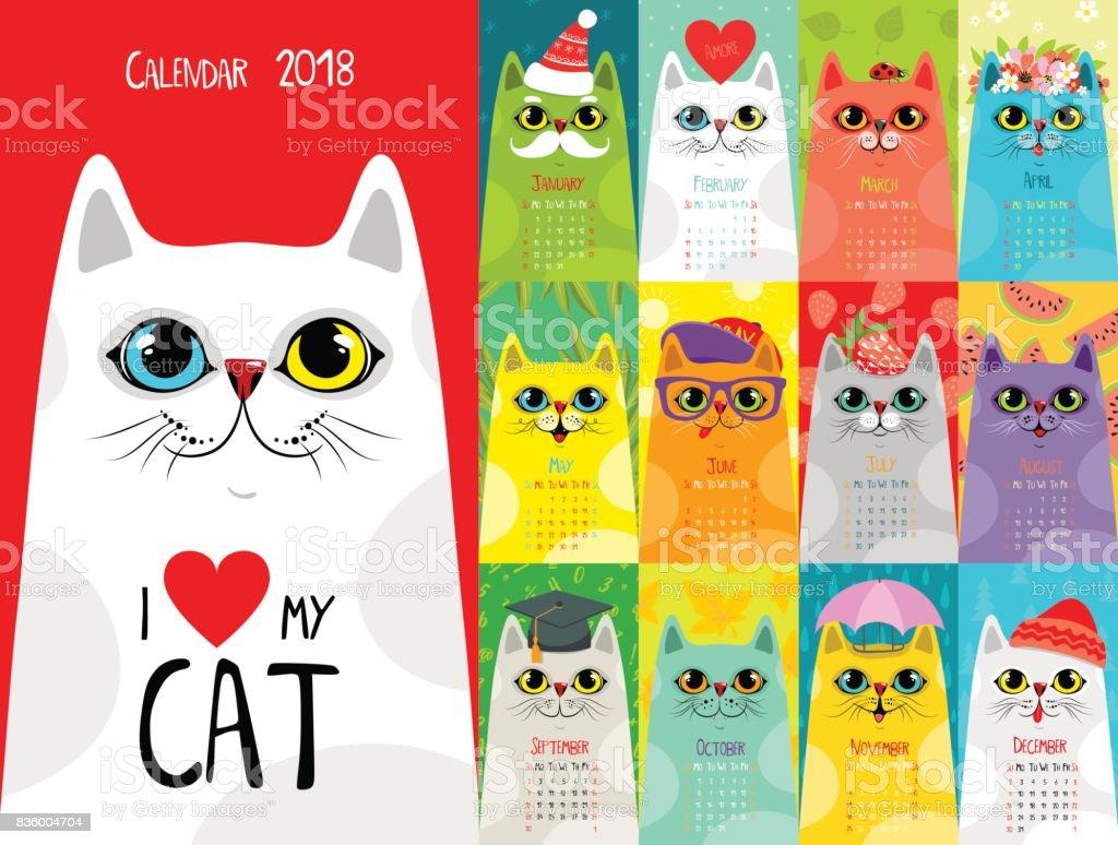カレンダーの 2018 年。かわいい猫 ベクターアートイラスト