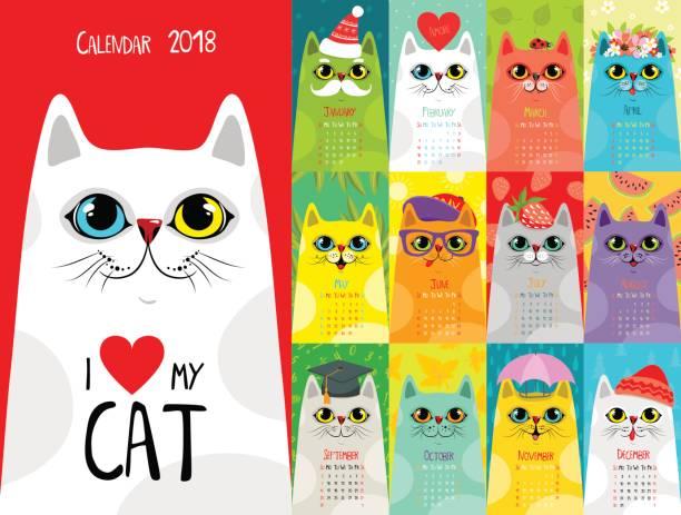 ilustraciones, imágenes clip art, dibujos animados e iconos de stock de calendario 2018. gatos lindos - calendario de flores