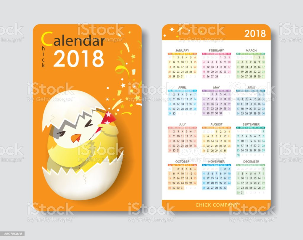 Calendar 2018 Cute Chick Character Standard Business Name Card Size ...
