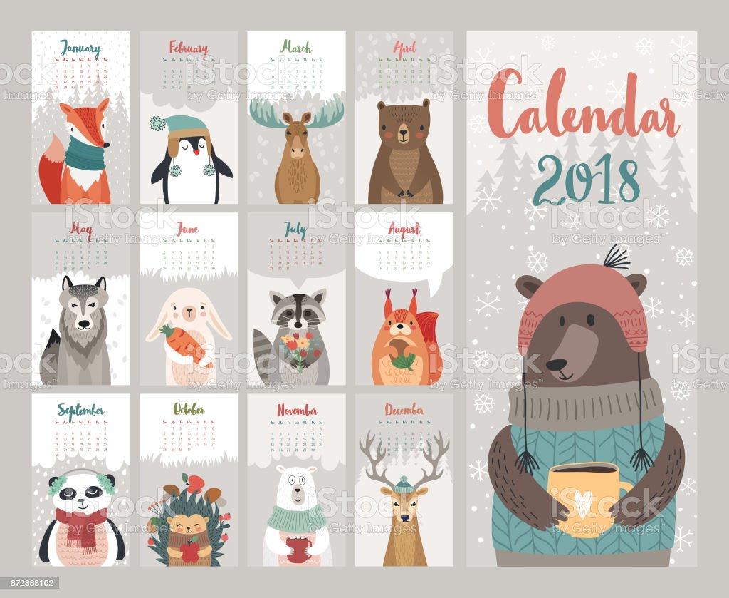 Kalender 2018. Niedliche Monatskalender mit Waldtieren. – Vektorgrafik