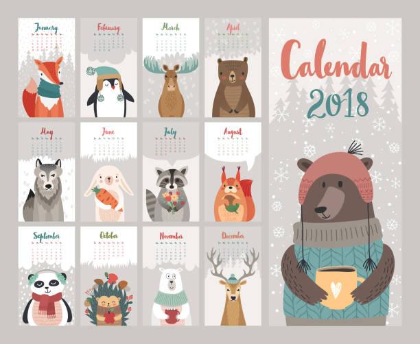 calendar 2018. cute monthly calendar with forest animals. - animals calendar stock illustrations, clip art, cartoons, & icons