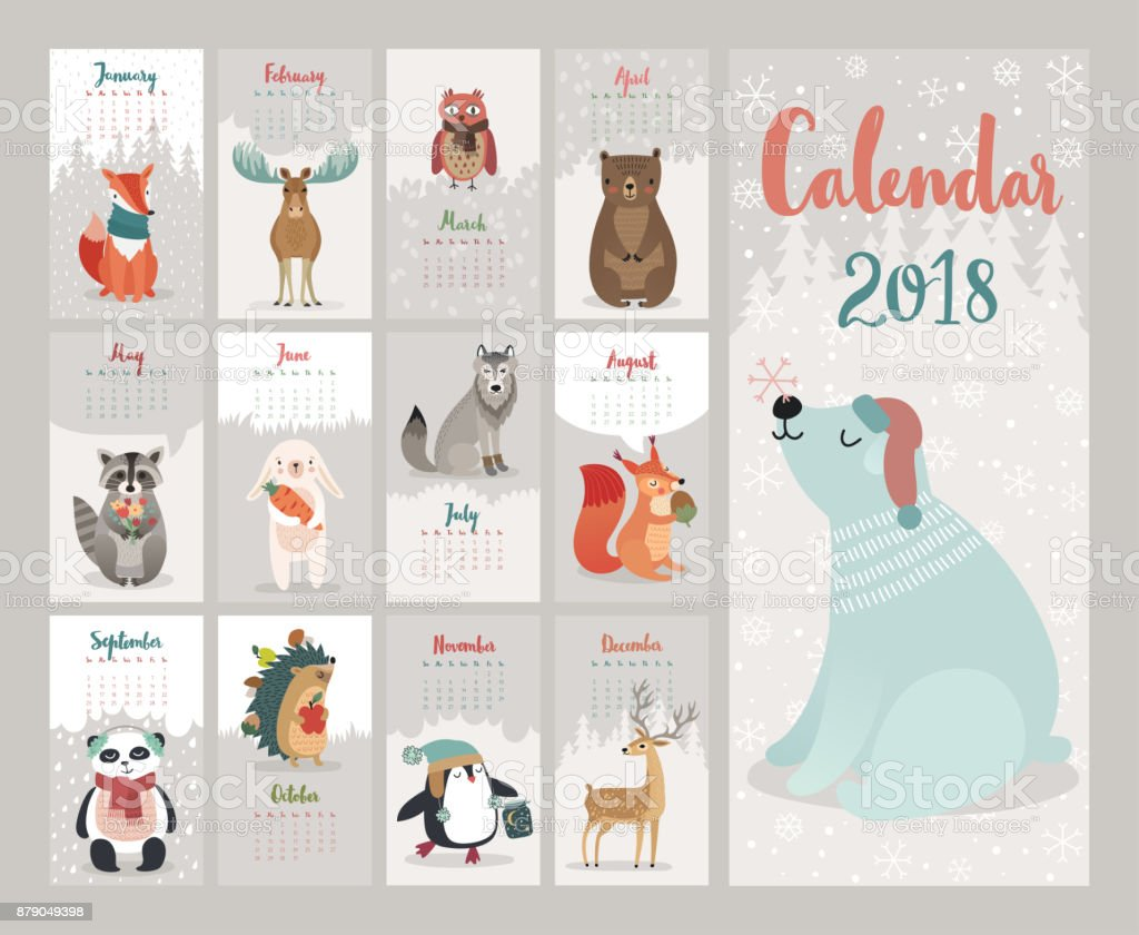 Calendar 2018. Cute monthly calendar with forest animals. vector art illustration