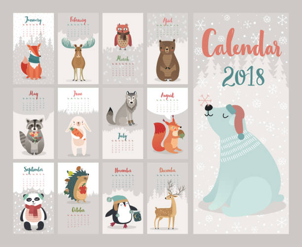 calendar 2018. cute monthly calendar with forest animals. - birds calendar stock illustrations, clip art, cartoons, & icons