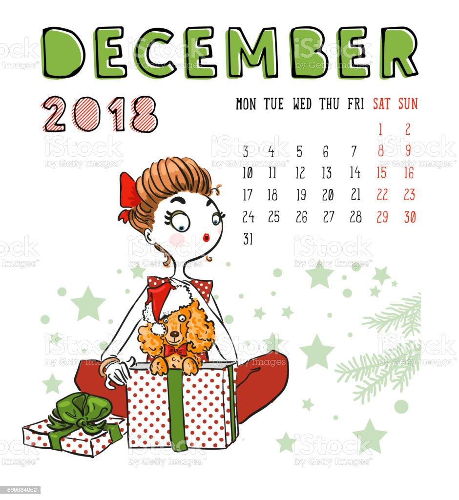 December Calendar Art : Calendar december month season girl with dog vector
