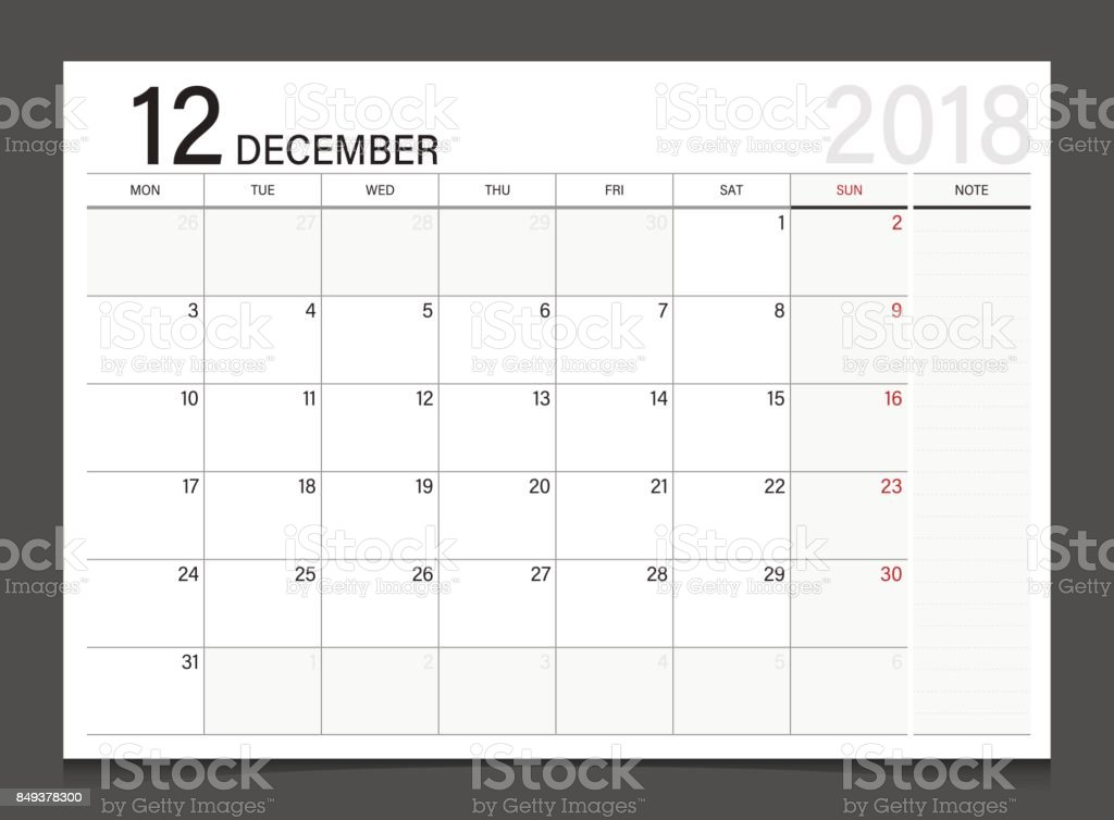 カレンダーの 2018年 12 月週開始月曜日カレンダー プランナー