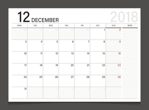 stockillustraties, clipart, cartoons en iconen met calendar 2018 december week start op maandag. kalender planner huisstijl sjabloon vector. - 2018