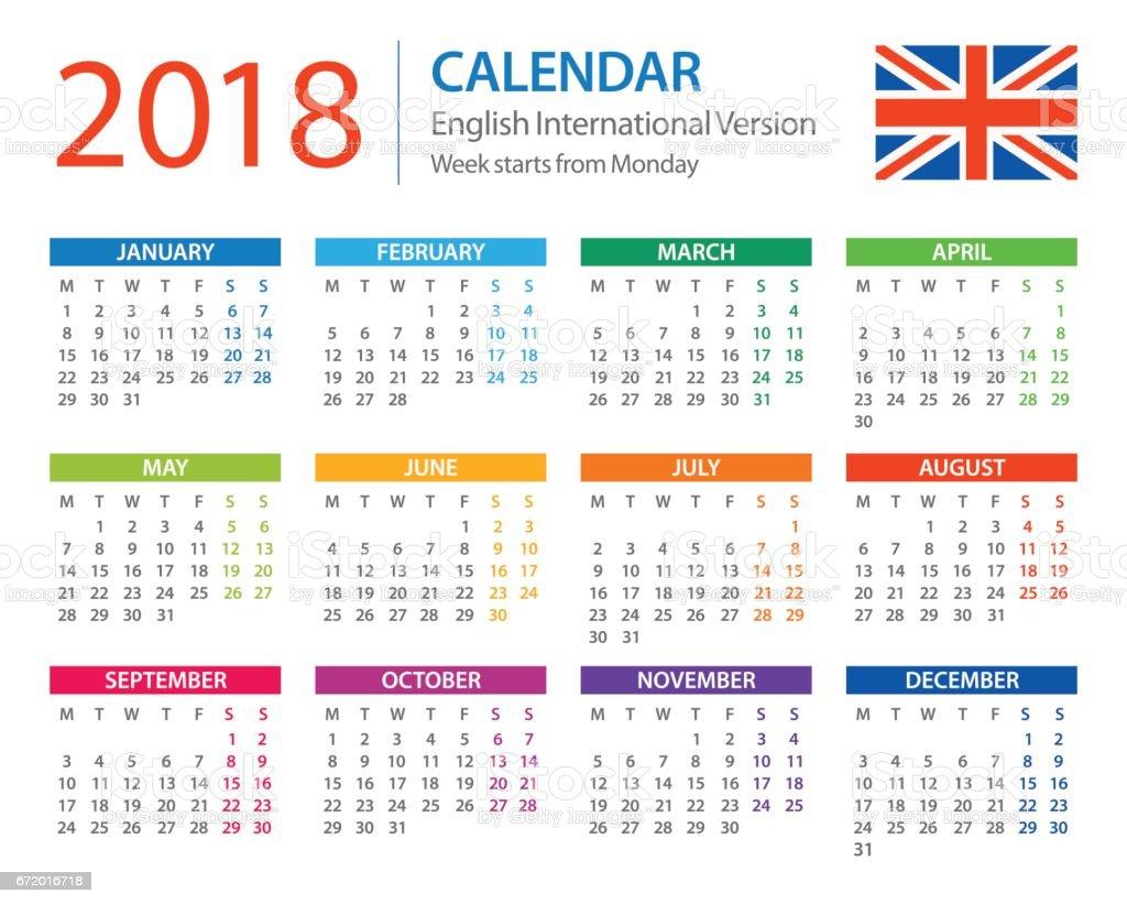 Calendar 2018 - English European International Version vector art illustration
