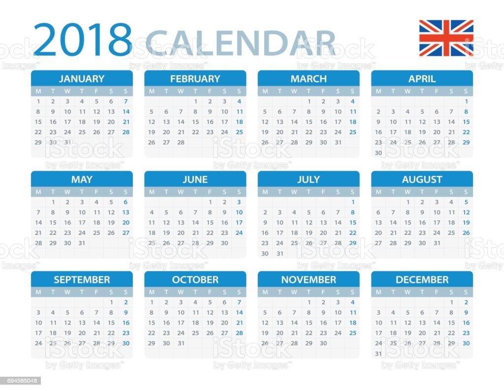 Calendar English : Calendar english version — стоковая векторная графика