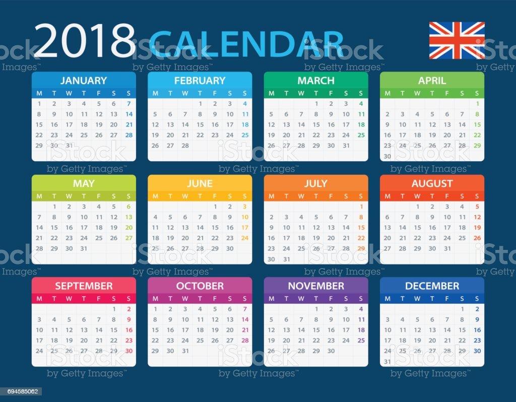 Suficiente Calendário 2018 Versão Em Inglês - Arte vetorial de acervo e mais  GN87