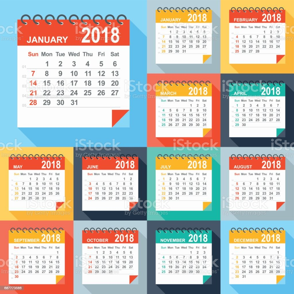 Calendar 2018 - Flat Modern Colorful vector art illustration