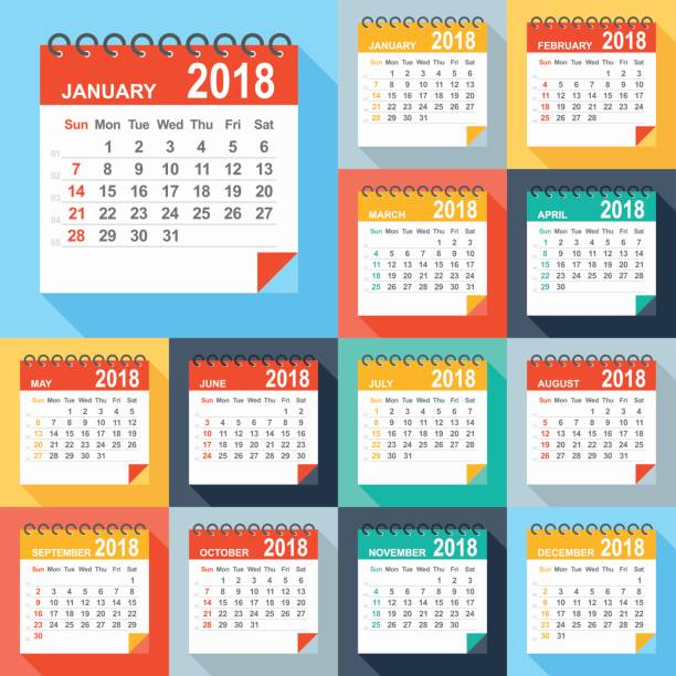 kalender 2018 - flache modern bunt - monatskalender stock-grafiken, -clipart, -cartoons und -symbole