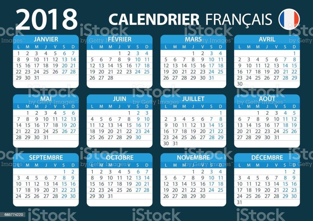 Kalender 2018 Französisch Blau Stock Vektor Art und mehr Bilder von ...