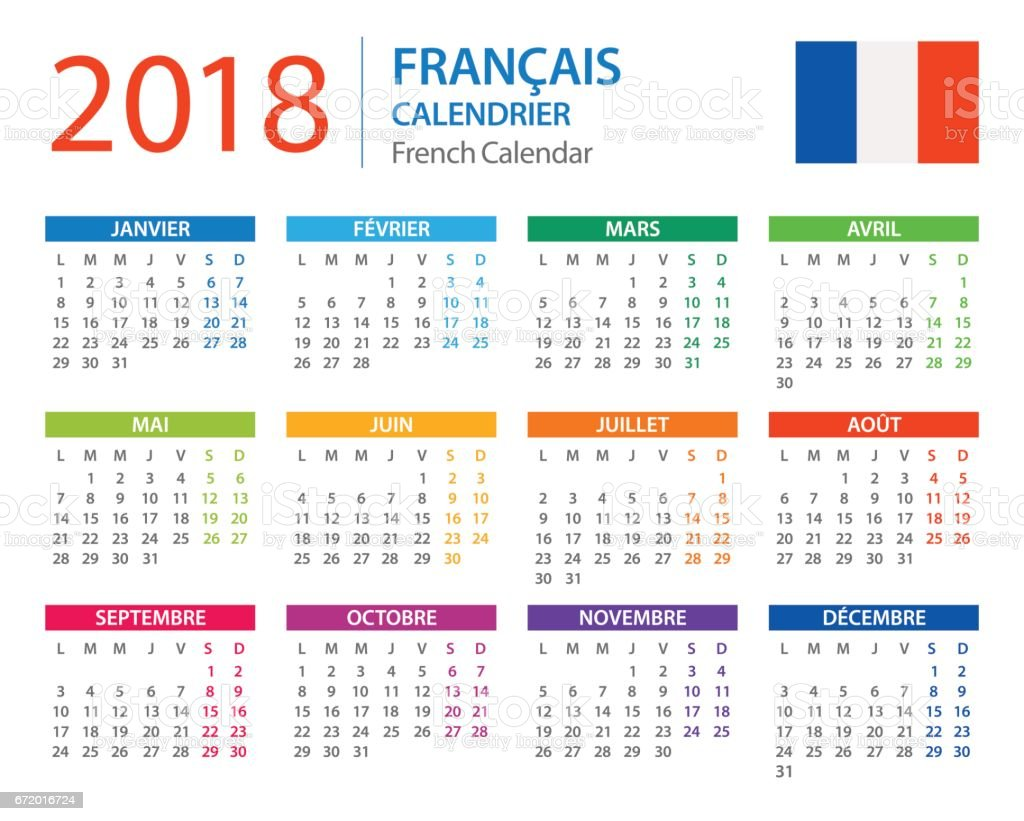 Calendar 2018 French Version Stock Vector Art More Images Of 2018