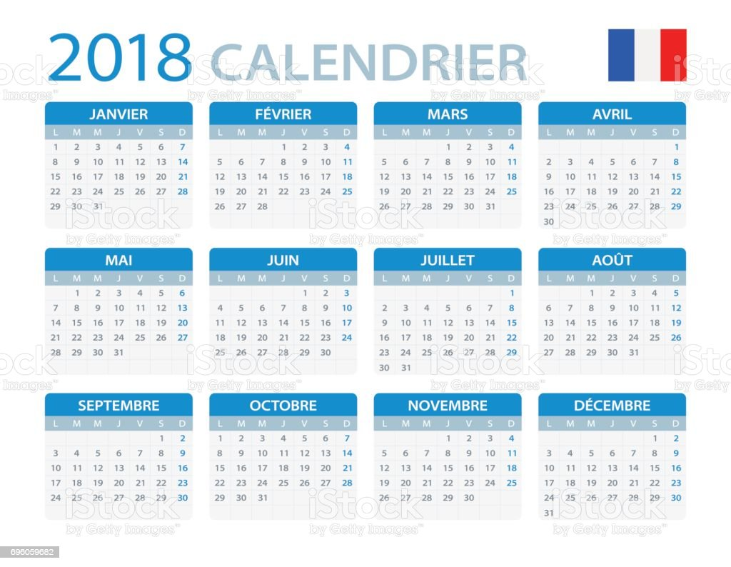 Illustration Calendrier.Calendar 2018 French Version Stock Illustration Download