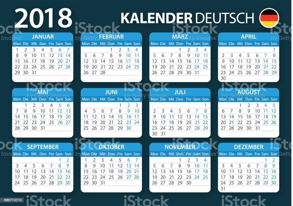 Calendrier 2018 allemand bleu calendrier 2018 allemand bleu – cliparts vectoriels et plus d'images de 2018 libre de droits