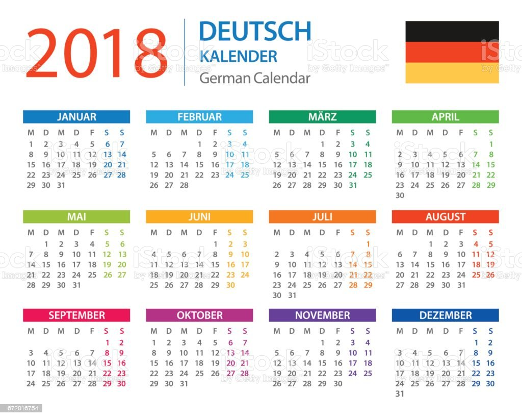 Kalender 2018 Deutsche Version Vektor Illustration