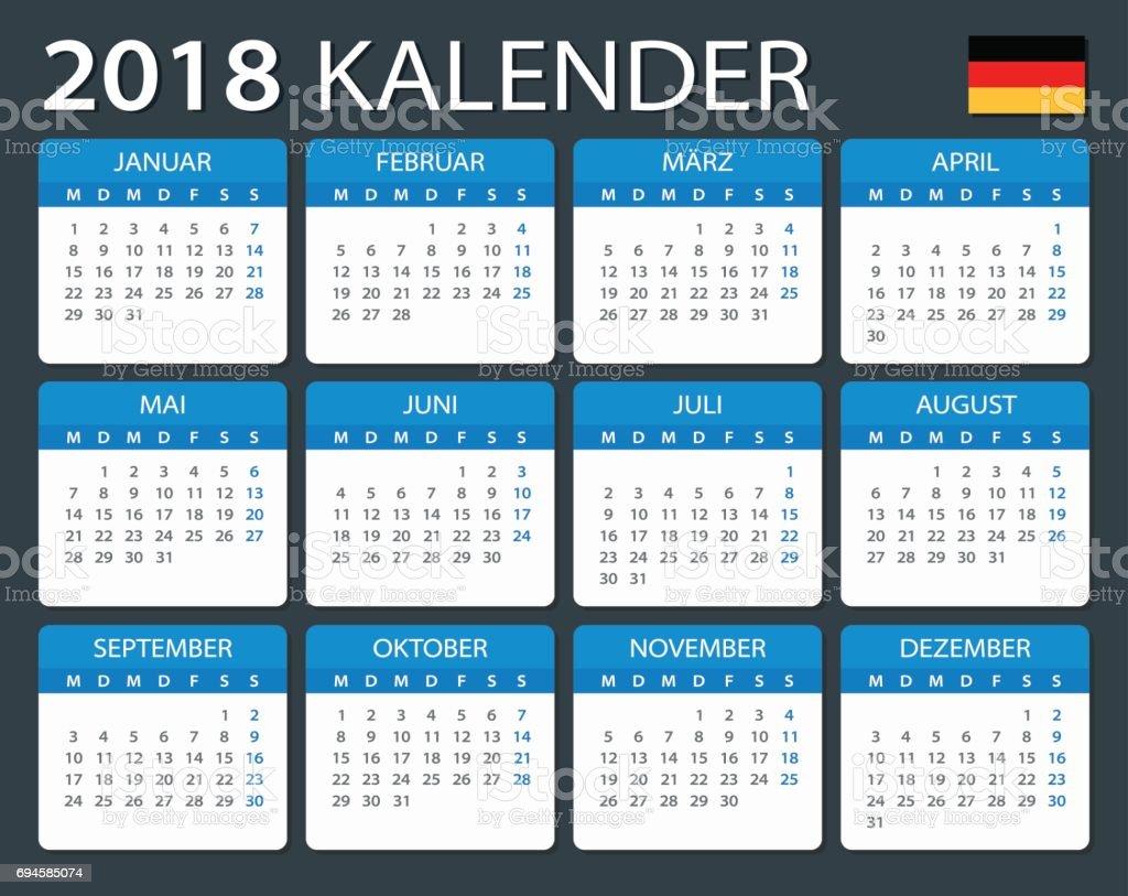 calendar 2018 german version stock vector art more. Black Bedroom Furniture Sets. Home Design Ideas