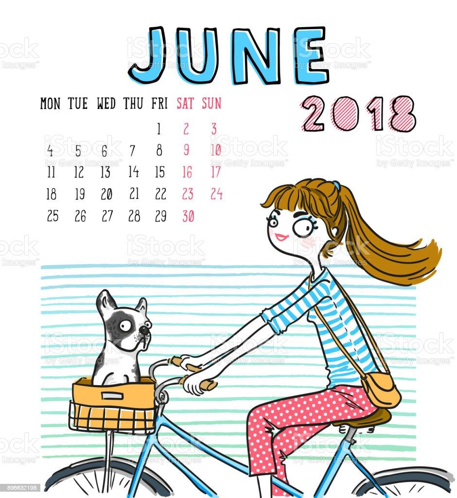 June Calendar Girl Series : Calendar june month season girl with dog vector