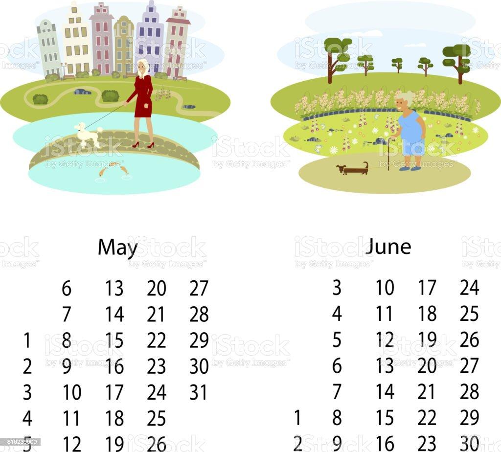 カレンダー 2018年 5 月 6 月 2018年のベクターアート素材や画像を多数