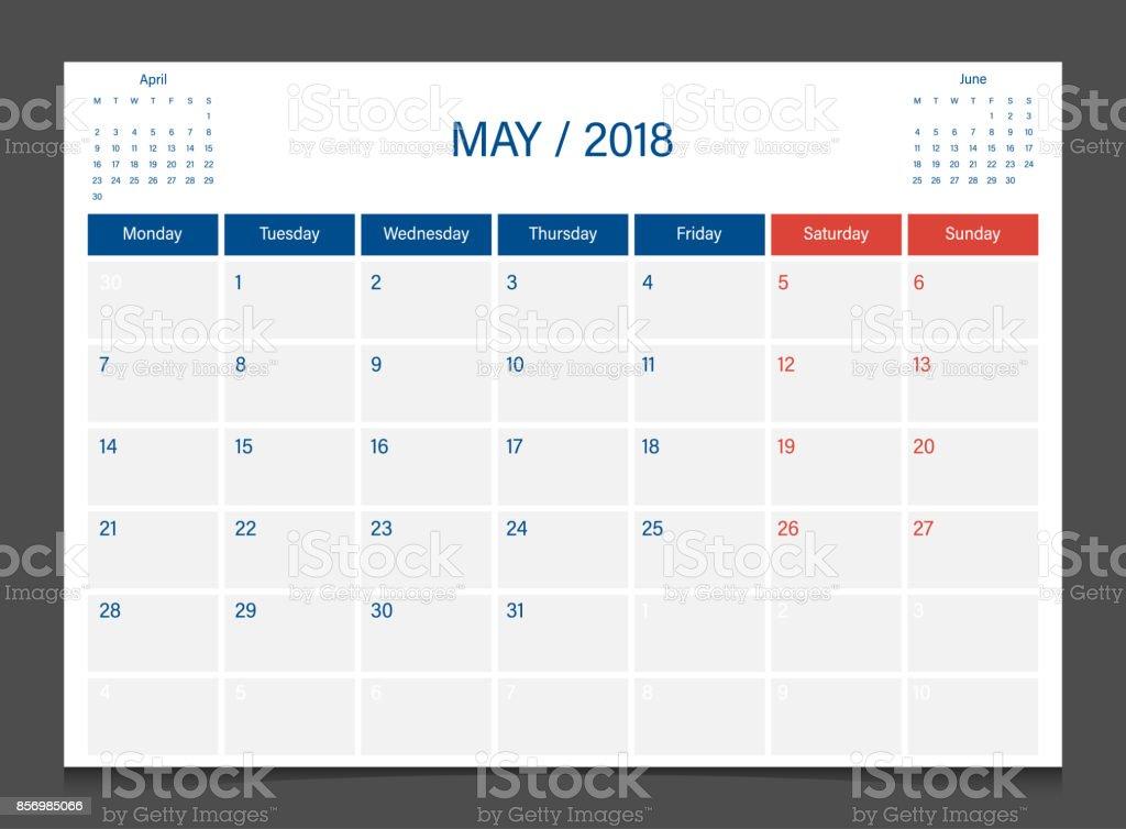 calendar 2018 may week start on monday calendar planner corporate