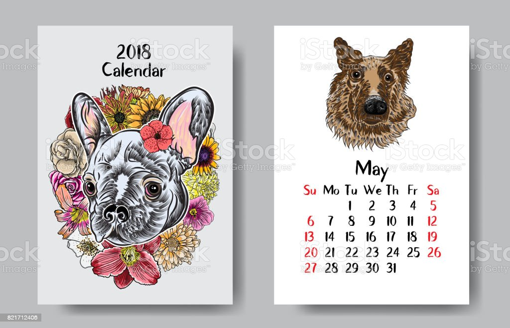Drawing Calendar 2018 : Calendar monthly with drawing of colourful dog