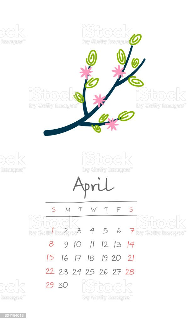Calendar 2018 months April. Week starts Sunday royalty-free calendar 2018 months april week starts sunday stock vector art & more images of 2018